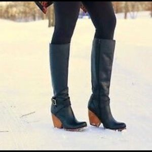 Korks Kork Ease Leather Wedge Heal Riding Boots
